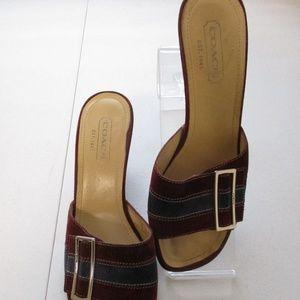 Shoes - Coach Denise Burgundy Blue Suede Sandals 8 M